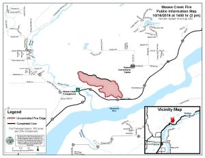 A map shows the 300-acre perimeter of the Moose Creek Fire near Sutton as of 2 p.m. Sunday.