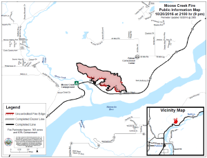 The latest perimeter map of the 303-acre Moose Creek Fire north of Palmer, as of 8 p.m. Thursday, Oct. 20. Leah Jones/Matanuska-Susitna Borough