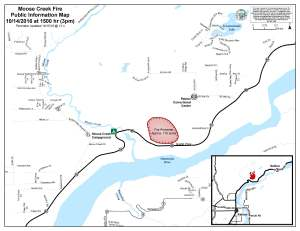 A map showing the approximate perimeter of the Moose Creek Fire near Sutton.