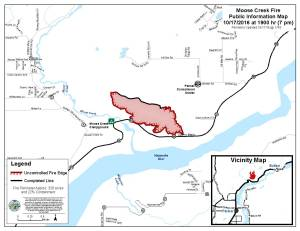 A perimeter map of the 328-acre Moose Creek Fire north of Palmer as of 7 p.m. Monday. Leah Jones/Matanuska-Susitina Borough