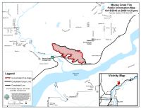 A perimeter map of the 303-acre Moose Creek Fire north of Palmer, as of 8 p.m. Tuesday. The fire acreage decreased by 25 acres due to more accurate mapping. Containment is now listed at 46 percent. Leah Jones/Matanuska-Susitna Borough