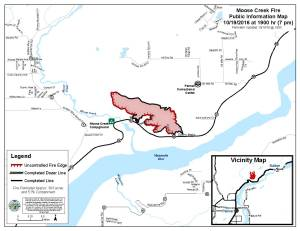 The latest perimeter map for the 303-acre Moose Creek Fire approximately 12 miles north of Palmer along the Glenn Highway. Leah Jones/Matanuska-Susitina Borough