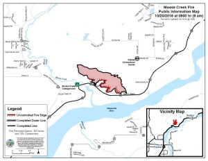 The latest perimeter map of the 303-acre Moose Creek Fire north of Palmer as of 9 a.m. Thursday. Containment is now estimated at 70 percent. Leah Jones/Matanuska-Susitna Borough