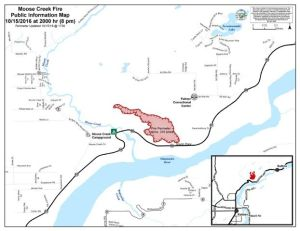 A map showing the perimeter of the 216-acre Moose Creek Fire as of 8 p.m. Saturday.