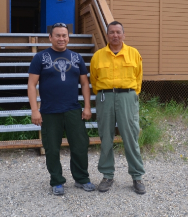 Calvin Moses (on lef) and his brother Rudy both worked on the Alatna Complex in Allakaket in June. Photo by Celeste Prescott/BLM Alaska Fire Service