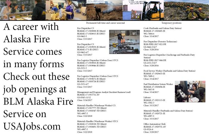 List of job openings at BLM Alaska Fire Service.