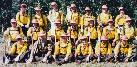 Calvin Moses (pictured in the back row, third from the right) worked on the entry-level North Star hand crew in 1988, followed by stints on the BLM Alaska Fire Service interagency hotshot crews.