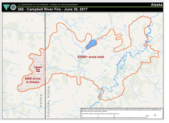 Using satellite imagery, the Campbell River Fire is estimated to be more than 58,000 acres in size; 6,000 of which has burned in Alaska in the Arctic National Wildlife Refuge.