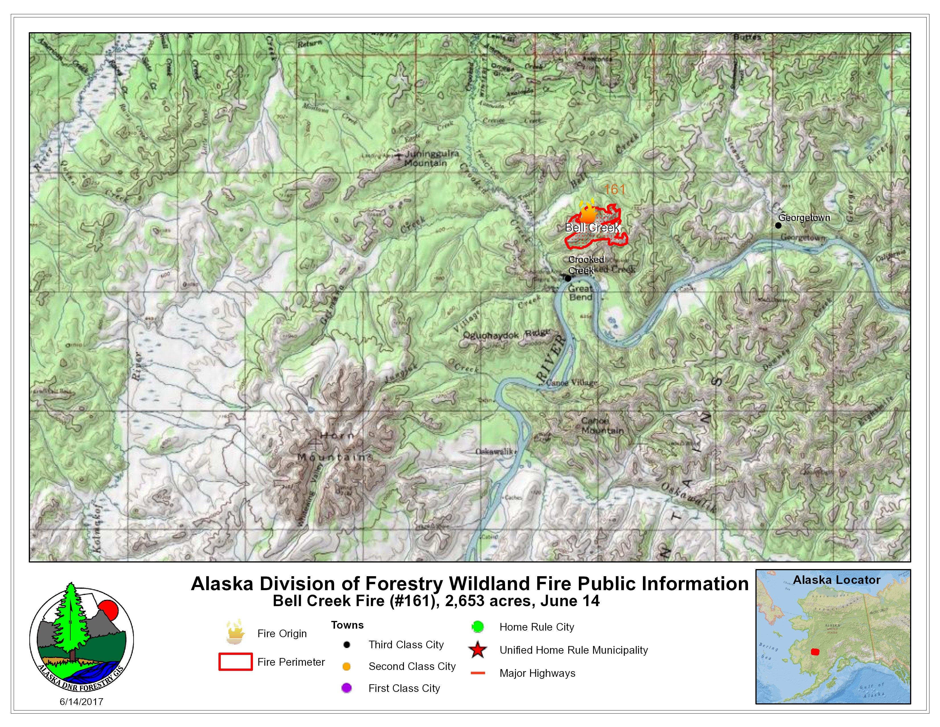 Bell Creek Fire 161 Map June 14 Ak Fire Info