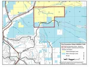Map of fire closure area near Gilmore Trail north of Fairbanks.