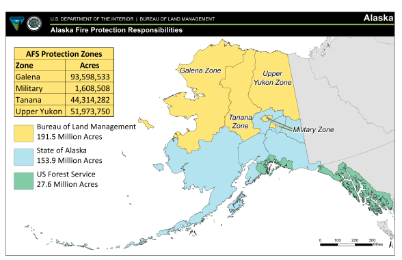 This map shows the various BLM Alaska Fire Service Protection Zones.