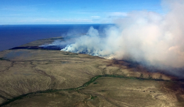 This photo shows how close the Romanoff Fire is burning to the Norton Sound. The fire is burning on the south side of Point Romanoff. Photo by Ryan McPherson//BLM Alaska Fire Service