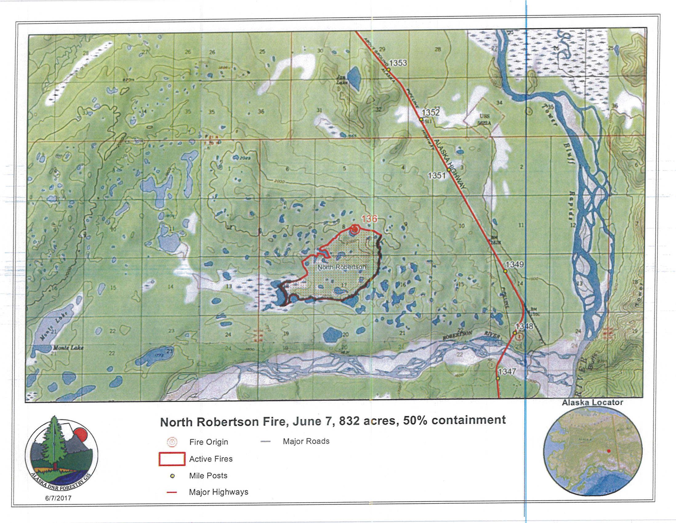 Bluff Alaska Map.Containment At 50 Percent On North Robertson Fire Near Tok Ak Fire