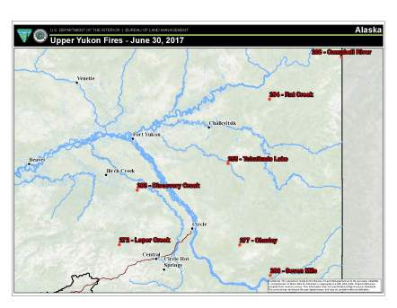 Map of some of the fires burning in the BLM Alaska Fire Service Upper Yukon Zone. As of Friday, 13 of the 87 active fires burning in Alaska were located within the Upper Yukon Zone that covers almost 52 million acres – an area the size of Minnesota – stretching from the Canadian Border to the Dalton Highway and from the Yukon River north to the Beaufort Sea.