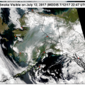 This satellite image shows the extent of smoke covering the state from fires burning in Alaska and Canada.