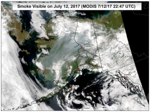 This satellite image from July 12 shows the extent of smoke covering the state from fires burning in Alaska and Canada.