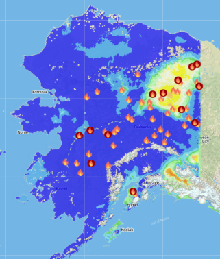This map shows the Fine Fuel Moisture Code (FFMC), the level found in fine fuels such as grass, for Alaska on Tuesday, July 25, 2017. The Alaska Interagency Coordination Center's MesoWest application shows the Yukon Flats as the driest part of the state. The flames show where there are active fires.
