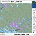 This Alaska Interagency Coordination Center map shows the Shovun Lake Fire in relation to Fort Yukon.