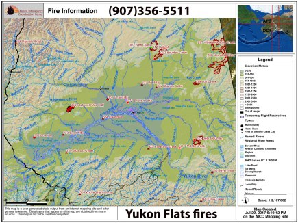 This Alaska Interagency Coordination Center map shows the wildfires in the Yukon Flats area.