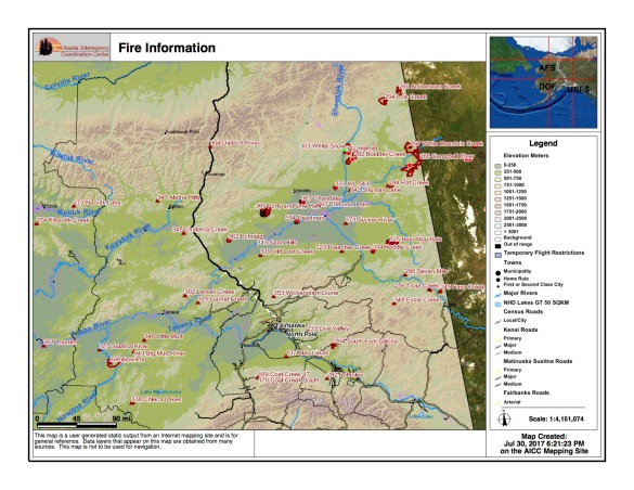 This Alaska Interagency Coordination Center map shows the locations of fires burning in the northern Interior of Alaska on July 30, 2017.