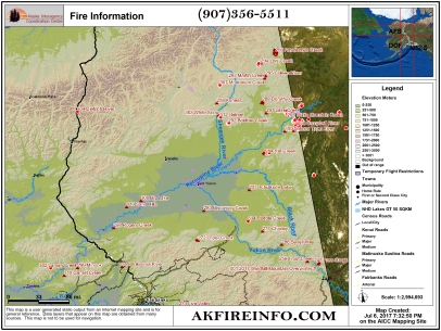 The map shows the active fires burning in the northeastern and central parts of Alaska.