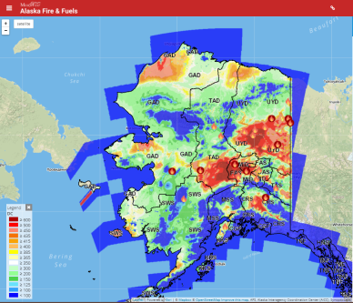 This MesoWest Alaska Fire and Fuels map shows the Drought Code levels for Alaska. The Drought Code represents the deep layer of compact organic matter 10-20 cm deep, which determines resistance to extinguishment. It indicates seasonal drought and smoldering fires in deep duff or large logs.