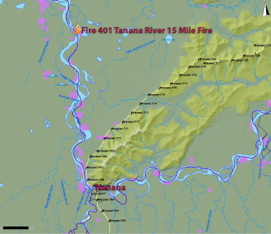 The Tanana River 15 Mile Fire is burning 15 miles down the Tanana River from Nenana. (Map provided by the Alaska Interagency Coordination Center)