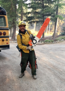 Melvin Demoski, a member of the Type 2 EFF Fairbanks #1 crew is ready to get to work on the Caribou Fire in Montana. Photo by Kenneth Brasket//Emergency Firefighter, Fairbanks #1