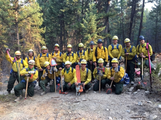 Type 2 Emergency Firefighter crew Upper Tanana #2 with a majority of members from Tetlin is one of four EFF crews returning to Alaska on Sunday after spending two weeks on the Caribou Fire in Montana near the Canadian border. Photo by Neal Charlie//Alaska Division of Forestry