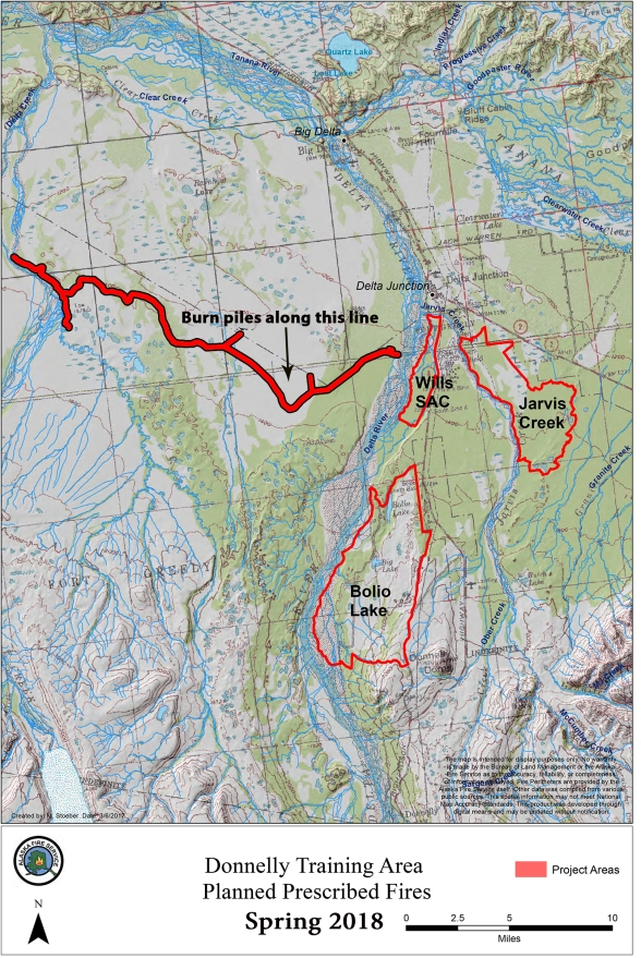 Map of Donnelly Training Area and location of debris piles BLM Alaska Fire Service and U.S. Army Alaska are planning to burn starting Feb. 10 and continuing, as long as conditions allow, until March 12.