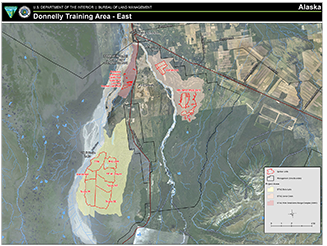 Map of Donnelly Training Area. Burning is tentatively scheduled on the Wills Range Complex, Battle Area Complex, and Bolio Lake Project Area and Buffalo Drop Zone.
