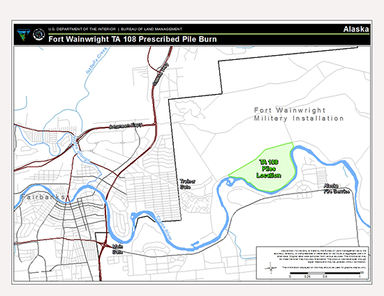 Map of area with area with the woody debris piles slated for burning outlined in green.