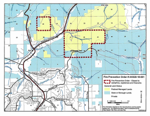Map of BLM lands that are part of a Fire Prevention Order prohibiting campfires, explosives and fireworks on federal lands in a fire-prone area of black spruce north of Fairbanks.