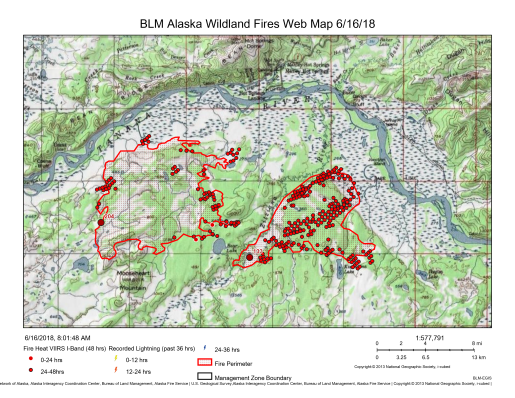 Map showing where the Zitziana River Fire, on right, and the Mooseheart Fire are burning south of Manley (6/16/16).