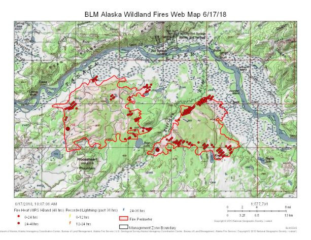 Map of Mooseheart Fire (#204), on left, and Zitziana River Fire (#133) burning south of Manley Hot Springs on June 17, 2018.