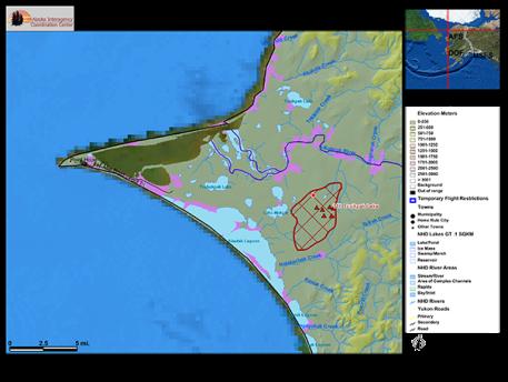 Map of Tusikpak Lake Fire (#116) burning near Point Hope.