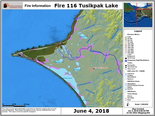 Alaska Interagency Coordination Center map of Fire 116 Tusikpak Lake