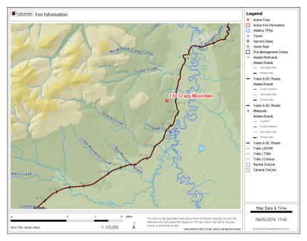 Map of Crazy Mountain Fire (#130) burning near Mile 142 Steese Highway.
