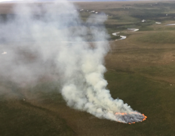 The one-acre Buckland River Fire is burning southeast of Buckland. Photo by Ryan McPherson, BLM AFS