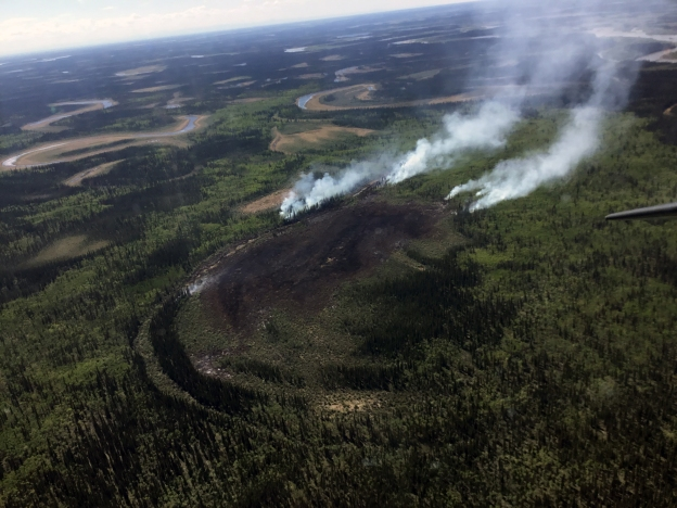 BLM AFS is working on the ground and by air to suppression the Chandalar River Fire burning 22 miles northwest of Fort Yukon. Photo by Kay Kudo, BLM AFS