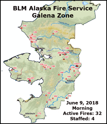 Map of fires in the Galena Zone for June 9, 2018.