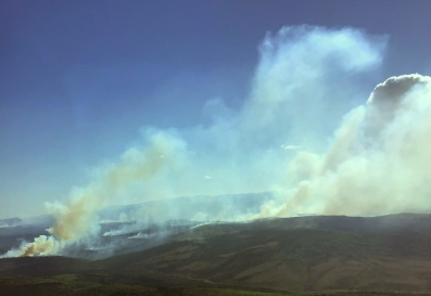 The Deniktaw Ridge Fire (#117) is burning in between Hughes and Huslia. Photo by Lakota Burwell, BLM AFS