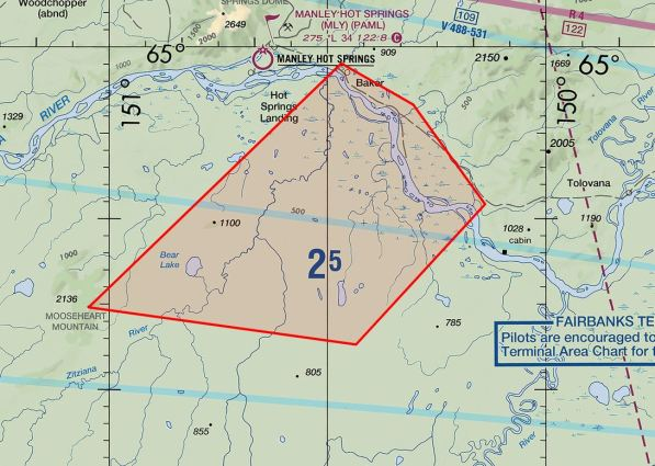 Map showing the temporary flight restriction (TFR) placed on airspace over the Mooseheart and Zitziana River fires. The TFR will remain in place until no air operations are needed in support of firefighters on the ground.
