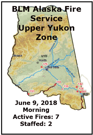 Map of fires in the BLM AFS Upper Yukon Zone for June 9, 2018.