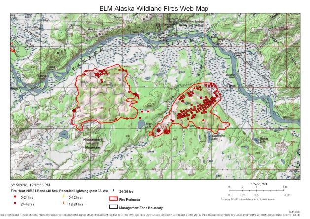 Map showing the Mooseheart Fire (on left) and the Zitziana River Fire (on right), which are burning about eight miles south of Manley Hot Springs.