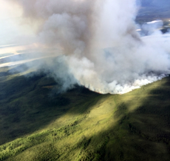 The Andrew Creek Fire (#366) is burning in the Yukon-Charley Rivers National Preserve. Photo by Dustin Wessel, BLM AFS.