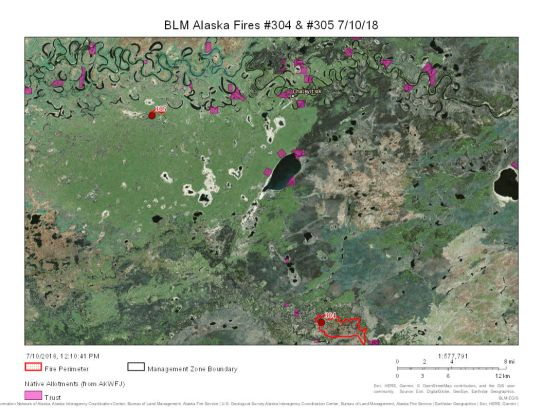The Tiechovun Lake Fire (#304) is 25 percent contained and Applevunk Fire (#305) is 80 percent contained.