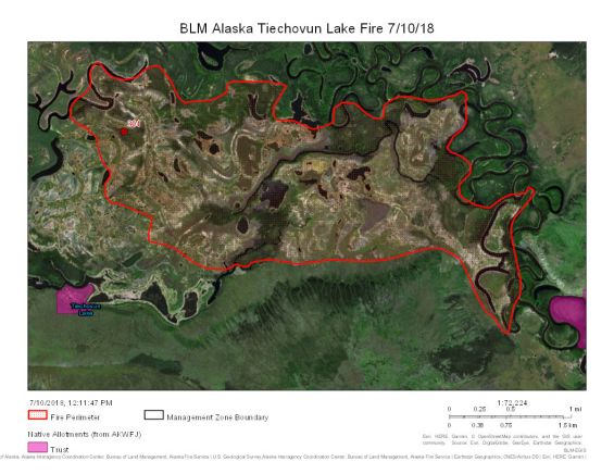 Map of Tiechovun Lake Fire on June 10, 2018.