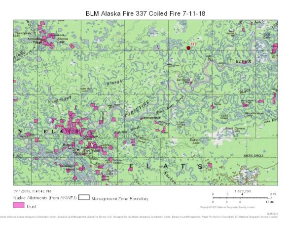 Map of the Coiled Fire (#337) burning about 17 miles northeast of Fort Yukon.