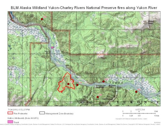 This map includes several fires burning along the Yukon River in the Yukon-Charley Rivers National Preserve.